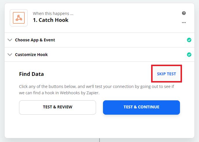 Zapier Webhook Configuration